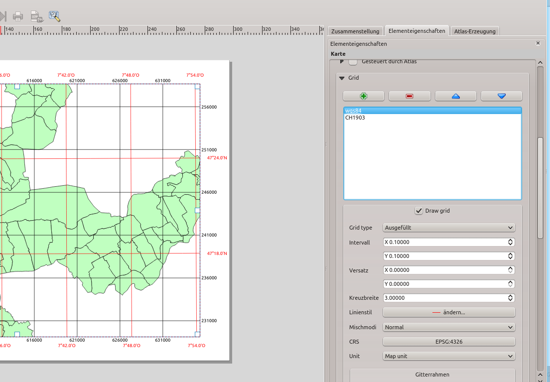 Multiple map grids in the QGIS print composer - Sourcepole