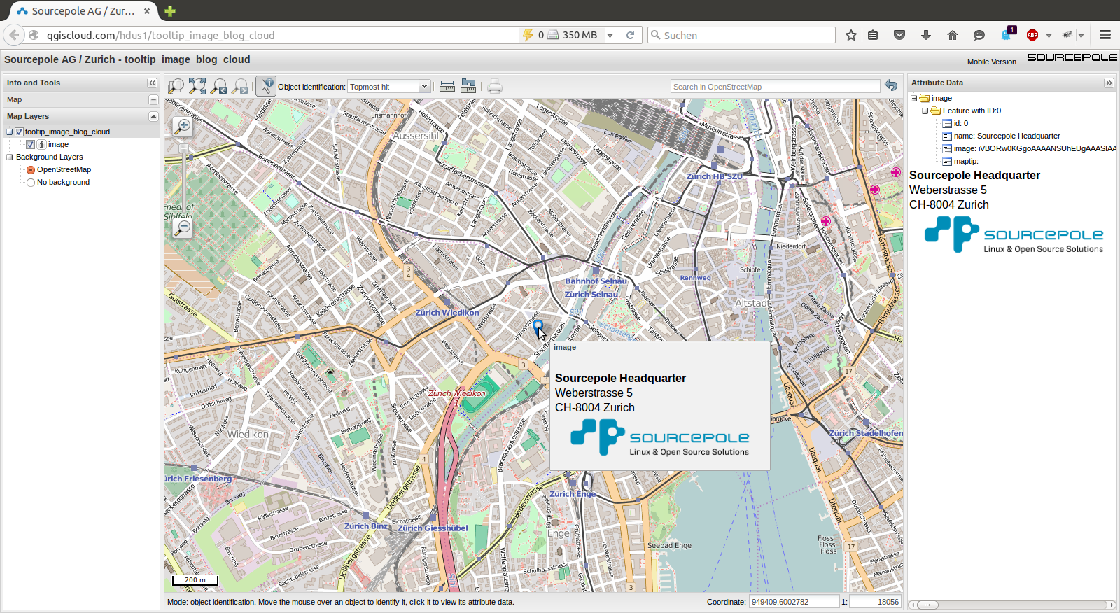 Publish Image Tooltips with QGIS Cloud - Sourcepole